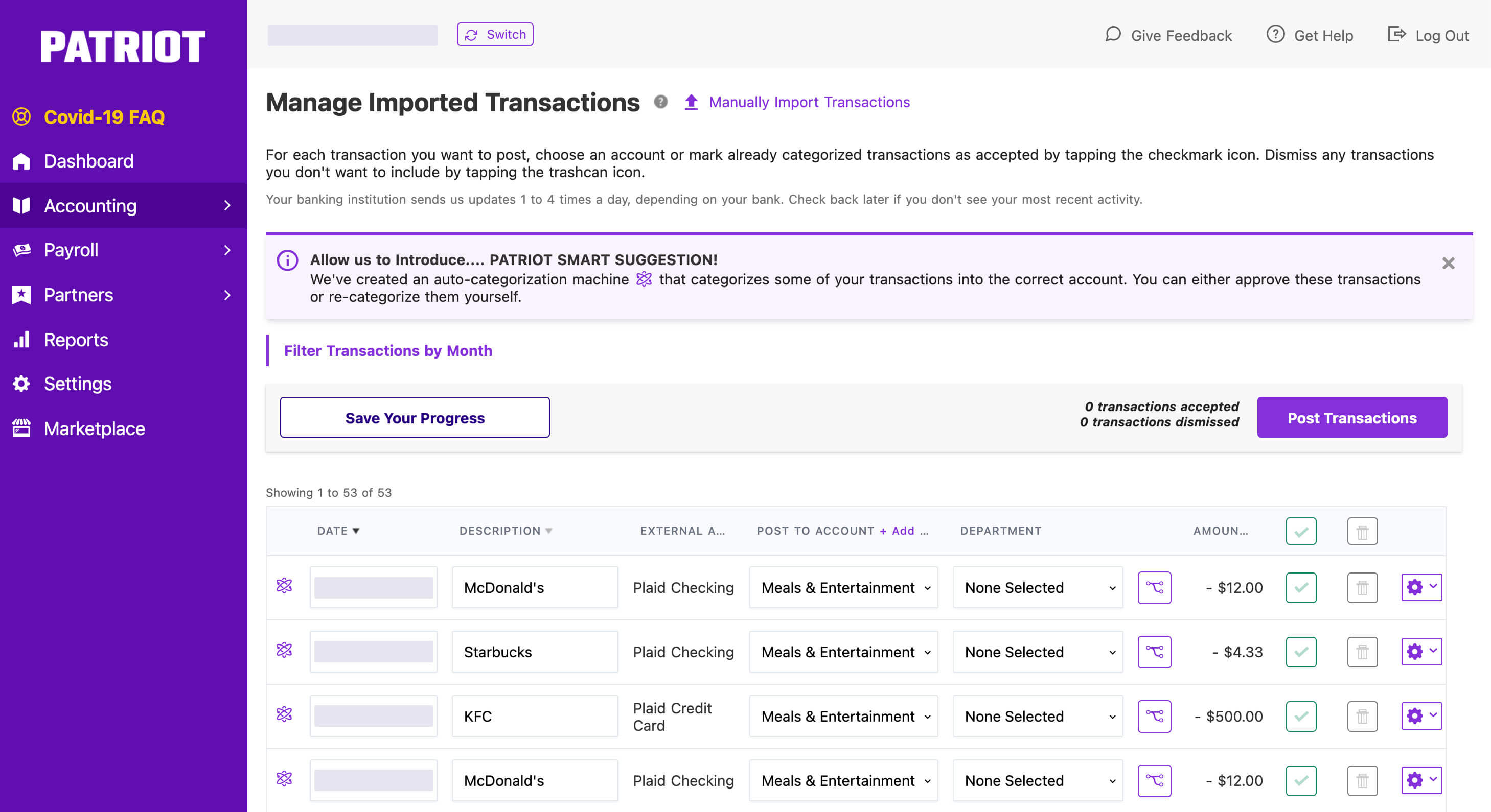 Patriot Software Manage Imported Transactions module