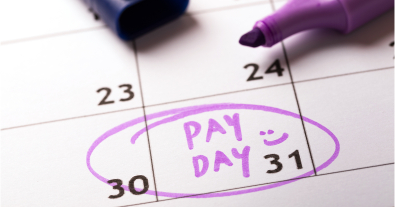Calendar with day circled and marked pay day