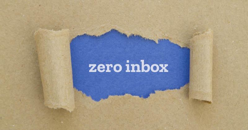 brown paper torn away to show the words zero inbox